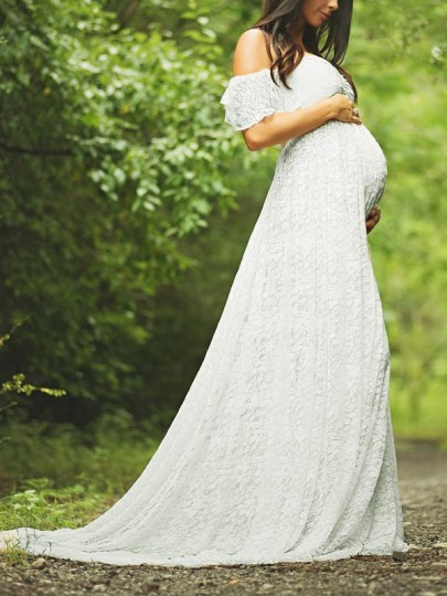 White Ruffle Lace Draped Off Shoulder Maternity For Babyshower Elegant Party Maxi Dress