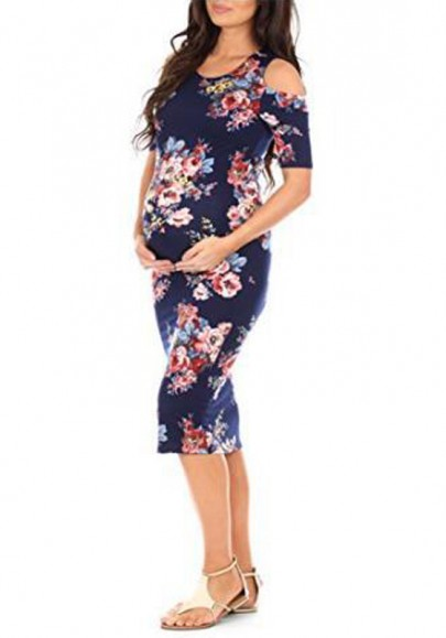 Navy Blue Floral Print Cut Out Half Sleeve Maternity Babyshower Elegant Party Midi Dress