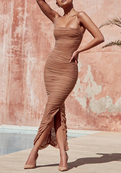 Apricot Side Slit Spaghetti Strap Off Shoulder Ruched Bodycon Clubwear Party Maxi Dress