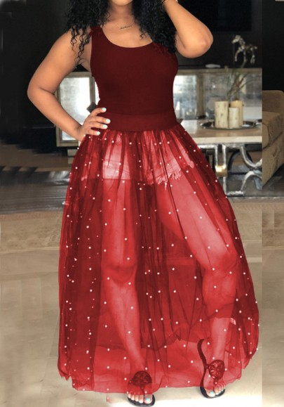 Date Red Patchwork Grenadine Pearl Fluffy Puffy Tulle Homecoming Party Maxi Dress