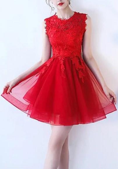 Mini-robe avec dentelle tutu tulle sans manches élégant de cocktail rouge