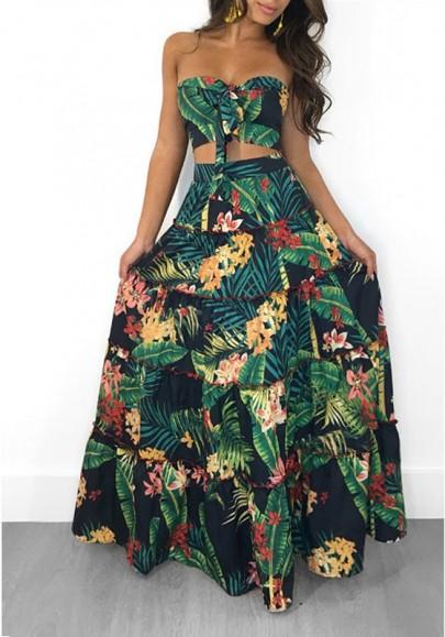 Grün Tropical Blumen Rüschen Bandeau Trägerloser Zweiteilig Bohemian Urlaub Strandwear Maxikleid Strandkleid