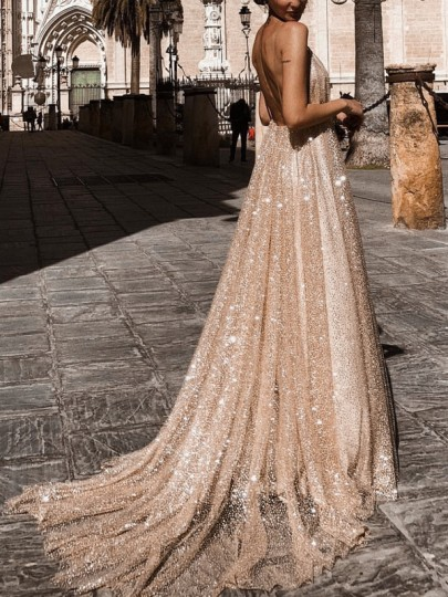 Champagne Sequin Glitter Grenadine Condole Belt Backless Double Deep V-Neck Evening Maxi Dress