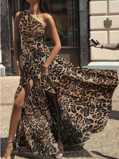 Brown Leopard Print Asymmetric Shoulder Slit Draped High Waisted Flowy Elegant Maxi Dress
