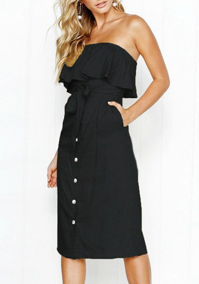 Black Pockets Belt Buttons Boat Neck Sleeveless Sweet Going out Midi Dress