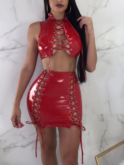 Red Lace-Up Drawstring Two Piece High Waisted PU-Leather Bodycon Clubwear Party Mini Dress