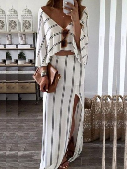 White Striped Print Irregular Two Piece V-neck Fashion Maxi Dress