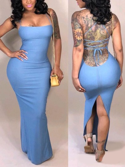 Light Blue Spaghetti Strap Lace-Up Drawstring Slit Bodycon Elegant Party Maxi Dress