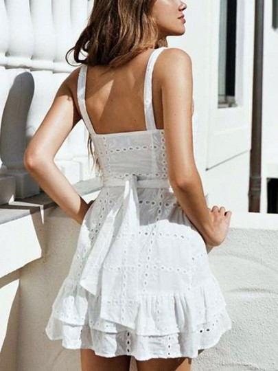 White Patchwork Lace Cut Out V-neck Elegant Mini Dress