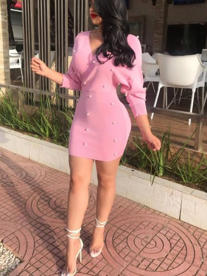 Pink Patchwork Pearl High Waisted Deep V-neck Sweet Going out Mini Dress