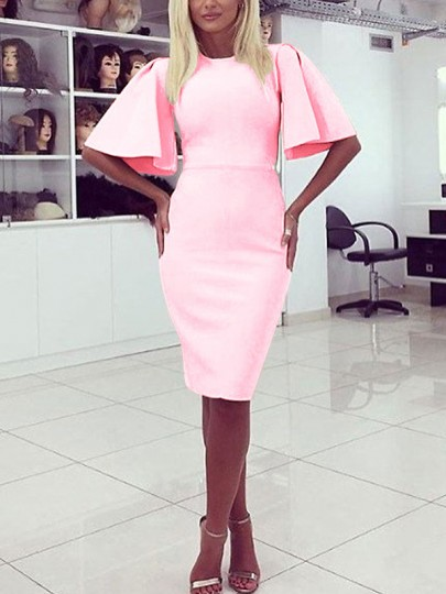 Pink High Waisted Bell Sleeve Bodycon Casual Elegant Party Midi Dress