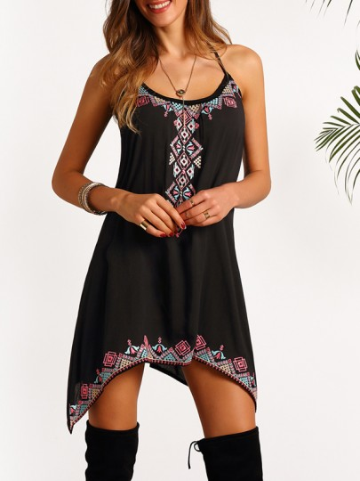 Black Floral Tie Back Print Round Neck Casual Mexican Mini Dress
