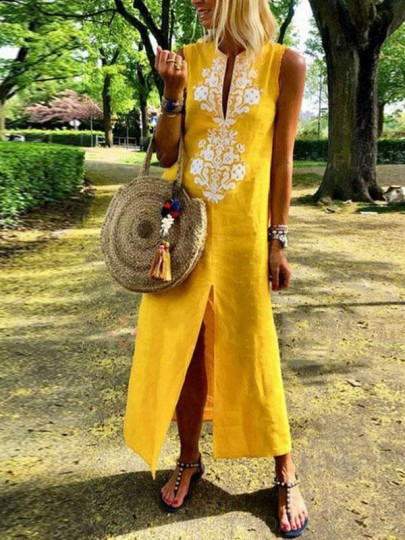 Yellow Patchwork Lace Embroidery Front Slit Mexico Casual Maxi Dress