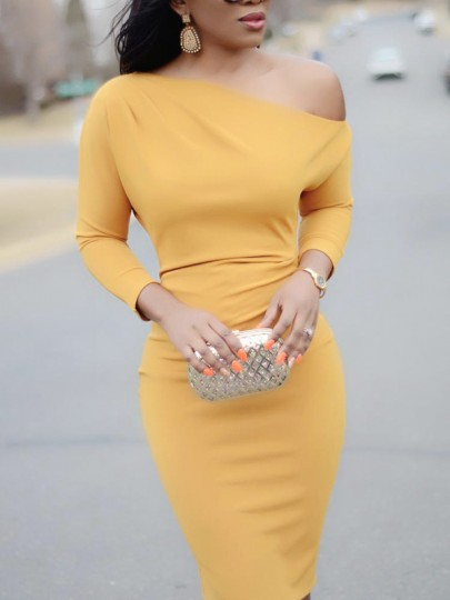Golden One Shoulder Long Sleeve Fashion Midi Dress