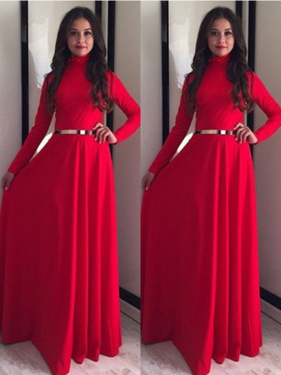 Red Draped Long Sleeve Band Collar Party Maxi Dress