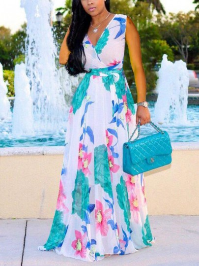 White Floral Print Draped Sashes High Waisted Deep V-neck Bohemian Maxi Dress