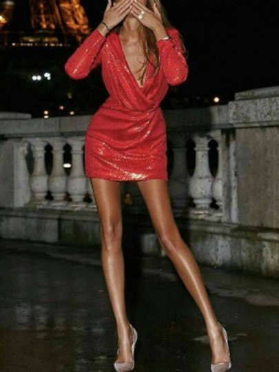 Red Sequin Deep V-neck Long Sleeve Bodycon Glitter Homecoming Bridesmaid Party Mini Dress