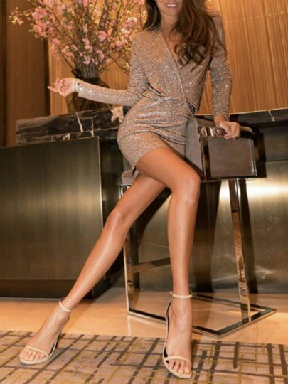 Khaki Sequin Deep V-neck Long Sleeve Bodycon Glitter Homecoming Bridesmaid Party Mini Dress