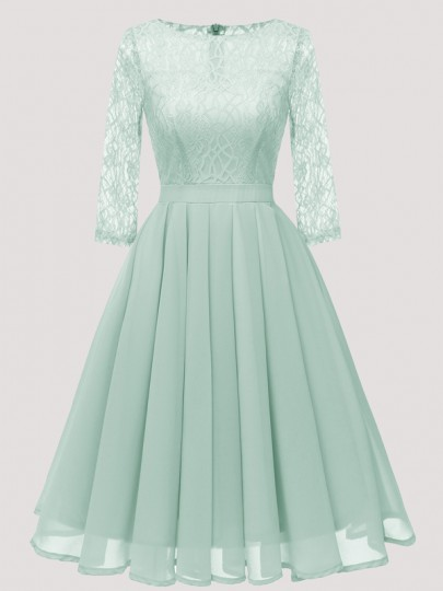 Green Patchwork Lace Pleated Round Neck Long Sleeve Midi Dress