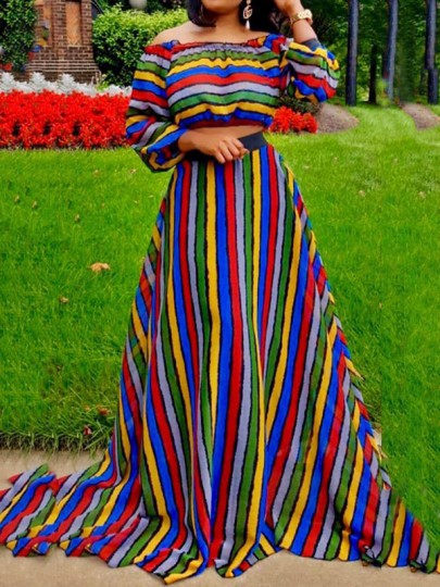 Red Rainbow Striped Jamaica Off Shoulder Two Piece High Waisted Long Sleeve Party Maxi Dress