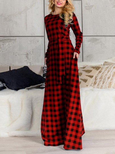 Red-Black Tartan Print Plaid Pockets Belt Plus Size Long Sleeve Oversized Casual Bohemian Maxi Dress