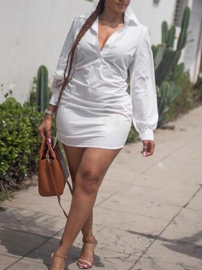 White Buttons Ruched Slit Deep V-neck Long Sleeve Casual Shirt Mini Dress