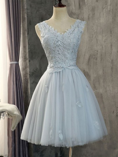 Grey Patchwork Lace Grenadine Bright Wire V-neck Bridesmaid Homecoming Prom Party Mini Dress