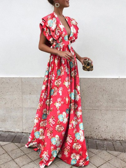 Red Floral Draped Backless Ruffle Plunging Neckline Sleeveless Elegant Maxi Dress