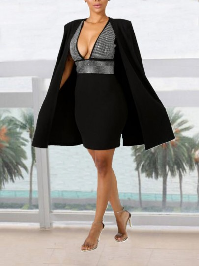 Black Patchwork Rhinestone Diamond Cloak Cape Two Piece Deep V-neck Elegant Mini Dress