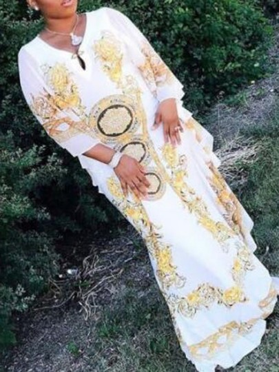 White Tribal Floral Pattern Ruffle 3/4 Sleeve African Style Caftan Elegant Party Maxi Dress