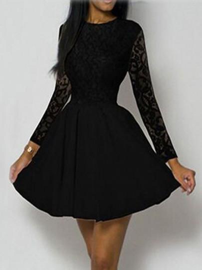 Mini-robe trapèze avec dentelle plissé manches longues mode élégant noir