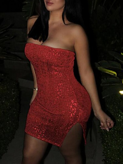 Red Bandeau Sequin Off Shoulder Slit Glitter Sparkly Bodycon Clubwear NYE Party Mini Dress