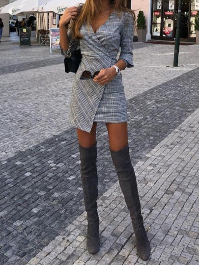 Black-White Plaid Irregular Side Slit 3/4 Sleeve Bodycon Elegant Party Mini Dress