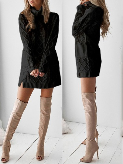 Black Patchwork Pockets High Neck Casual Knit Mini Dress