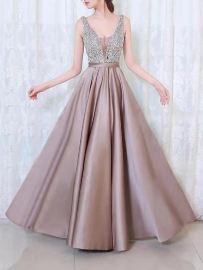 Apricot Patchwork Sequin Draped Condole Belt V-neck Sleeveless Formal Gowns Maxi Dress