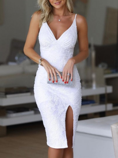 White Sequin Spaghetti Strap Backless Slit Sparkly Glitter Bodycon Birthday Party NYE Prom Midi Dress