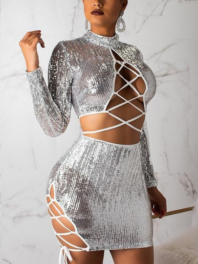 Silver Patchwork Sequin Lace-up Cut Out Two Piece Sparkly Glitter Long Sleeve Birthday Party Clubwear Mini Dress