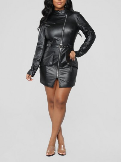 Black Buttons Belt Zipper Long Sleeve PU Leather Latex Vinly Patent Party Mini Dress