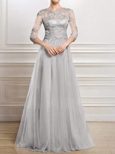 Grey Patchwork Lace Grenadine 3/4 Sleeve Banquet Wedding Party Maxi Dress