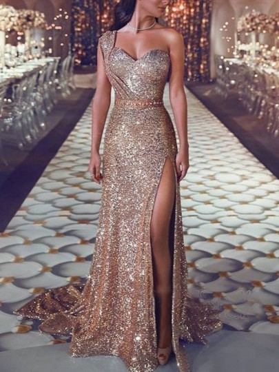 Golden Bronzing Sparkly One Shoulder Sleeveless Slit Party Maxi Dress