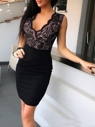 Black Patchwork Lace V-neck Bodycon Cute Birthday NYE Party Prom Mini Dress