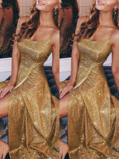Khaki Patchwork Sequin Spaghetti Strap Side Slits Sparkly Glitter Prom Evening Party Maxi Dress