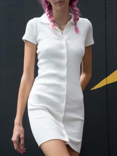 White Single Breasted Turndown Collar Bodycon V-neck Short Sleeve Streetwear Ladies Mini Dress