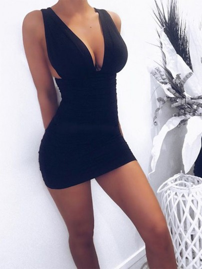 Black Ruffle Double V-neck Fashion Club Bodycon Mini Dress