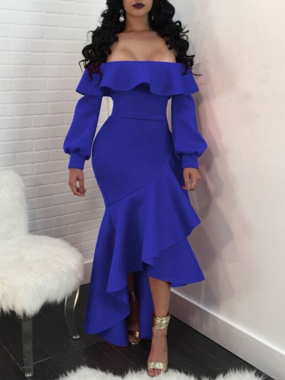 Blue Ruffle Off Shoulder Irregular Bodycon Long Sleeve s New Year's Eve Party Maxi Dress