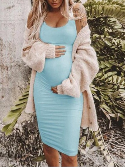 Baby Blue Pleated Deep V-neck Spaghetti Strap Bodycon Maternity Midi Dress