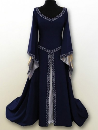 Navy Blue Embroidery V-neck Long Sleeve Classic Festival Maxi Dress