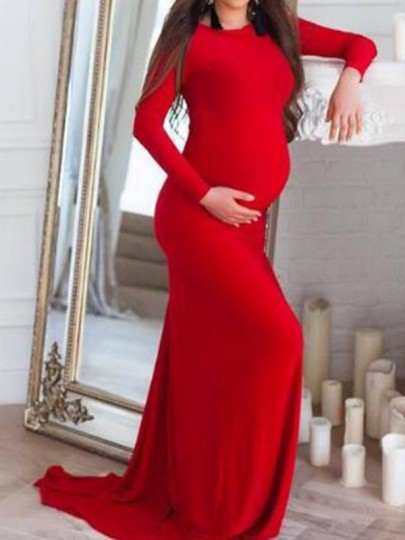 Red Draped Mermaid Long Sleeve Baby Shower Pregnancy Floor Length Maternity Maxi Dress