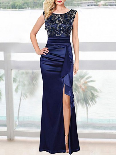 Navy Blue Patchwork Embroidery Appliques Ruched Ruffle Slit Banquet Maxi Dress