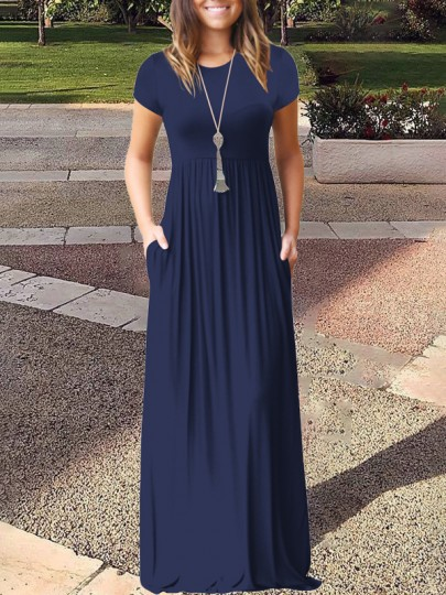 Dark Blue Pockets Short Sleeve Round Neck Loose Casual Ladies Maxi Dress